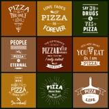 Reeks uitstekende pizza typografische citaten Stock Fotografie
