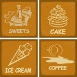Reeks uitstekende prentbriefkaaren voor koffie met het beeldvoedsel Stock Fotografie