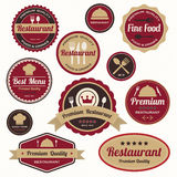 Reeks uitstekende restaurantkentekens en etiketten Stock Foto's