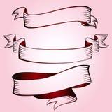 Reeks uitstekende rode linten Stock Fotografie