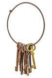 Reeks uitstekende roestige die sleutels op een ring op wit wordt geïsoleerd Stock Afbeelding