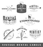 Reeks uitstekende tandartsetiketten Royalty-vrije Stock Fotografie