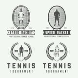 Reeks uitstekende tennisemblemen, emblemen, kentekens, etiketten Stock Foto