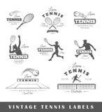 Reeks uitstekende tennisetiketten Stock Fotografie