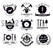 Reeks uitstekende timmerwerkhulpmiddelen en houtvesters Emblemen, emblemen en ontwerpelementen Royalty-vrije Stock Afbeelding