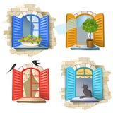 Reeks uitstekende vensters Royalty-vrije Stock Afbeeldingen