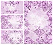 Reeks uitstekende violette kaarten vector illustratie