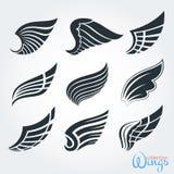 Reeks uitstekende vleugels Silhouet voor embleem, tatoegering, ontwerp stock illustratie