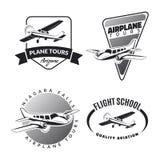 Reeks uitstekende vliegtuigemblemen en pictogrammen Royalty-vrije Stock Afbeeldingen