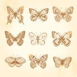 Reeks uitstekende vlinders. Stock Afbeelding