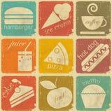 Reeks uitstekende voedseletiketten Stock Foto's