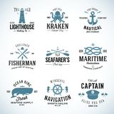 Reeks Uitstekende Zeevaartetiketten en Tekens met Stock Afbeeldingen