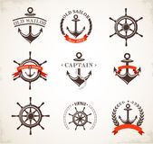 Reeks uitstekende zeevaartpictogrammen en symbolen Stock Foto