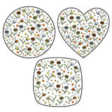 Reeks uitstekende zegels met madeliefje binnen bloemen en bellflowers vector illustratie