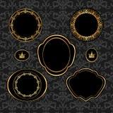 Reeks uitstekende gouden kaders op grijs damast backgr Stock Foto's