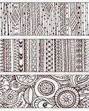 Reeks unieke naadloze patroon en grenzen royalty-vrije illustratie