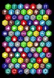 Reeks universele pictogrammen met lange schaduw Vlak Ontwerp Stock Afbeelding