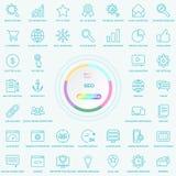 Reeks Universele SEO Search Engine Optimisation Line-Pictogrammen Web, Blog en Sociale Media Knopen Vectorillusitration vector illustratie