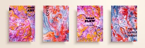 Reeks universele vectorkaarten Vloeibare marmeren textuur Kleurrijk ontwerp voor uitnodiging, aanplakbiljet, brochure, affiche, b vector illustratie