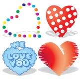 Reeks valentijnskaart`s harten, deel 8, Stock Afbeeldingen