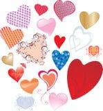 Reeks valentijnskaarten hart-vormen Stock Fotografie