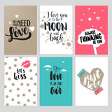 Reeks Valentine-kaarten van de daggroet Stock Foto