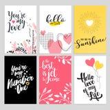 Reeks Valentine-kaarten van de daggroet Stock Fotografie