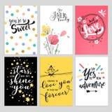 Reeks Valentine-kaarten van de daggroet Stock Afbeelding