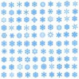 Reeks van 100 unieke blauwe sneeuwvlokken in fractal stijl Stock Afbeelding