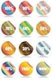 Reeks van 12 Glanzende stickers van verkoopmarkeringen Royalty-vrije Stock Afbeelding