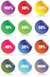 Reeks van 12 Glanzende stickers van verkoopmarkeringen met korting Stock Foto's