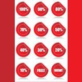 Reeks van 12 Glanzende stickers van verkoopmarkeringen met korting Royalty-vrije Stock Fotografie
