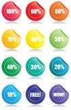 Reeks van 12 Glanzende verkoopmarkeringen Vector Illustratie