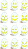 Reeks van 12 grappige eieren voor Pasen Stock Afbeelding