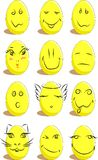 Reeks van 12 grappige eieren voor Pasen Royalty-vrije Stock Foto's