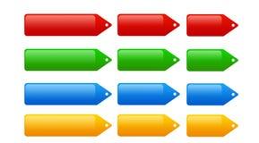 Reeks van 12 Web 2.0 Markeringen, proce markeringen en knopen Stock Illustratie