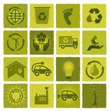 Reeks van 16 groene pictogrammen Vector Illustratie