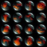 Reeks van 16 zwarte Halloween knopen Royalty-vrije Stock Foto