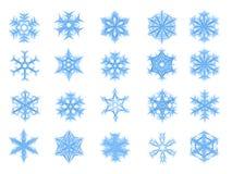 Reeks van 20 blauwe sneeuwvlokken in schetsstijl Royalty-vrije Stock Foto