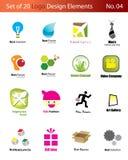 Reeks van 20 Elementen van het Embleem Stock Afbeeldingen