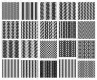 Reeks van 20 zwart-wit eenvoudig naadloze patronen Stock Afbeeldingen