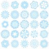Reeks van 25 sneeuwvlokken Stock Afbeeldingen