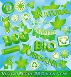 Reeks van 26 Milieuvriendelijke Punten Stock Foto's