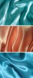 Reeks van 3 gedrapeerde satijnachtergronden Royalty-vrije Stock Foto's