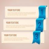 Reeks van 3 optiebanners met blauw lint Royalty-vrije Stock Foto's