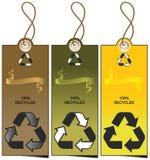 Reeks van 3 verkoopmarkeringen met het recycling van illustratie Stock Afbeelding
