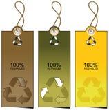 Reeks van 3 verkoopmarkeringen met het recycling van illustratie Royalty-vrije Stock Foto's