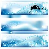 Reeks van 3 zwemmende banners met schaduwen van blauw Royalty-vrije Stock Foto's