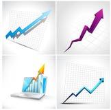 Reeks van 3D Diagram en pijl Stock Foto's