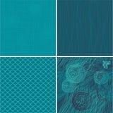 Reeks van 4 blauwe naadloze achtergronden royalty-vrije illustratie